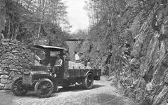 STONE FOR ROADS: A truck hauls a load of road-building stone to John D. Rockefeller's mansion in Pocantico Hills, N.Y. The estate is now a historic site of the National Trust. Scientific American, January 6, 1912