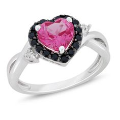Heart-Shaped Lab-Created Pink Sapphire and Black Spinel with Diamond Accent Ring in Sterling Silver