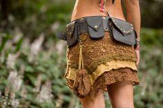Boho Belt (Black) - Pocket Belt Hip Bag Goa Bohemian Hippie Gypsy Festival Adjustable Psytrance Tribal Boho Utility