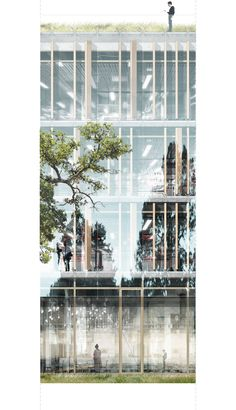 Finalist for the new extension for the WHO HQ in Geneva  Facade 1:50