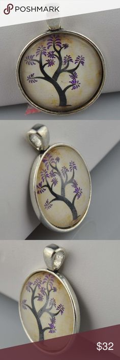 """Young Tree of Life Photo Art Necklace Pendant is 1"""" round Image sealed under glass in an antique silver tone tray  Choice of 16"""", 18"""", 20"""", or 24"""" Rolo or Ball chain(cut to order), or pendant only  Hand assembled so small air bubbles may be present. Water resistant but not waterproof. Phot taken with quarter for size.   Smoke free pet friendly home.  Internal SKU: YNGTREE Handmade Jewelry Necklaces"""