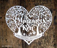 Personalised Wedding Anniversary / Day Papercutting by SASCreative