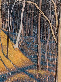 Gordon Mortensen : Frick Park at Davidson Galleries Landscape Art, Landscape Paintings, Landscapes, Davidson Galleries, Art Graphique, Wood Engraving, Linocut Prints, Woodblock Print, Tree Art