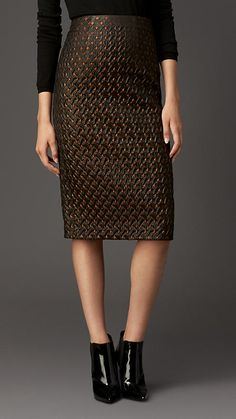 Burberry London Textured Jacquard Pencil Skirt