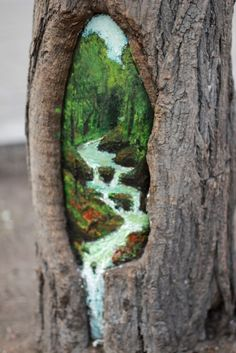 Tree Hole Paintings by Wang Yue: In China, public trees have been transforming into beautiful works of art thanks to art student Wang Yue. With her friend Li Yue, aka 3d Street Art, Street Art Graffiti, Graffiti Artists, Street Trees, Outdoor Art, Old Art, Chalk Art, Tree Art, Public Art