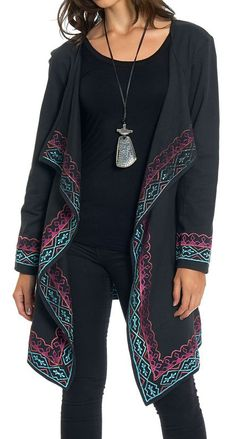 Luv2Luv Black & Pink Embroidered Open Cardigan