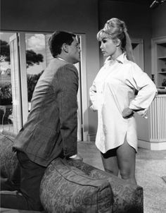 "Larry Hagman is getting ""The Look"" from Barbara Eden in an episode of the I Dream of Jeannie television series."