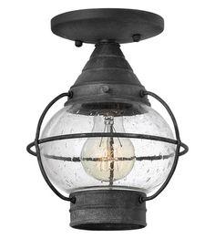 Hinkley Lighting Cape Cod 1 Light Outdoor Flush Lantern in Aged Zinc 2203DZ-LED #lightingnewyork #lny #lighting