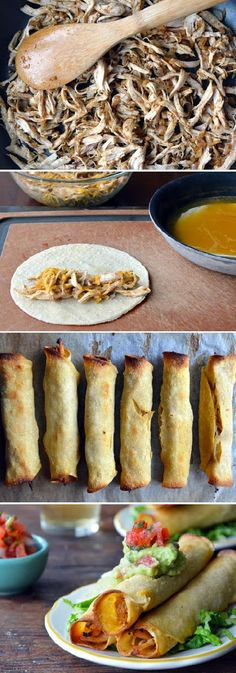 BAKED CHICKEN & CHEESE TAQUITOS... Bf & I like these!  Slightly time consuming, but a yummy treat once they're baked!
