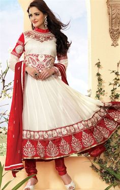 Classic Cream and Red Designer Churidar Kameez Set