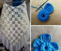 This Pin was discovered by Jas Crochet Motif, Crochet Shawl, Crochet Lace, Crochet Stitches, Diy Crochet Flowers, Diy Crafts Crochet, Crochet Projects, Crochet Scarves, Crochet Clothes