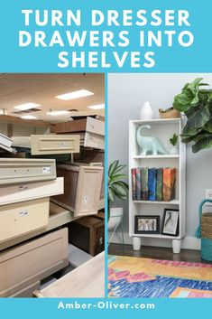 Learn how to turn dresser drawers into shelves. Upcycle an old dresser drawer into versatile storage for your home! #upcycle #thriftstorediy #diy
