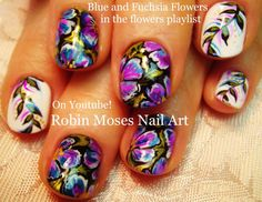 Blue and Purple floral nail design