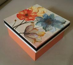 Susana Painted Wooden Boxes, Wood Boxes, Hand Painted, Decorative Napkins, Decorative Boxes, Cigar Box Crafts, Decoupage Box, Altered Boxes, Vintage Box