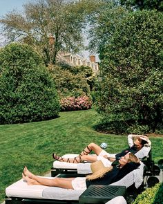Basking Sharp - The models, in Tory Sport, relax on the pool lawn.  In this story: Hair: Didier Malige; Makeup: Aaron de Mey Produced by Dawn Boller for Little Bear Manicure: Courtney Riveira for 27 Hampton Salon Flowers by Raúl Àvila