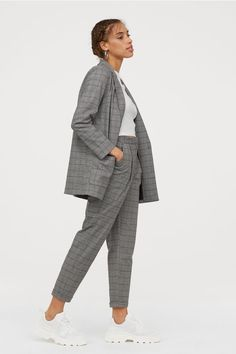 Ankle-length trousers in woven fabric with a regular waist, zip fly and concealed hook-and-eye fastener. Side pockets, a fake welt back pocket and straight Suits For Women, Clothes For Women, Work Clothes, Ankle Length Pants, Tailored Trousers, Cozy Sweaters, Grey Sweater, Stylish Outfits, Black Pants