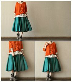 Shop for blouse on Etsy, the place to express your creativity through the buying and selling of handmade and vintage goods. Japanese Fashion, Korean Fashion, Long Skirt Looks, Mori Girl Fashion, Smock Dress, Linen Dresses, Easy Wear, Fashion Outfits, Womens Fashion