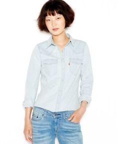 Levi's Long-Sleeve Denim Western Shirt - Blue XL