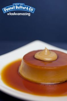 Flan with a Peanut Butter Dollop #tasteamazing