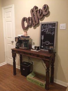 Trendy Ideas For Kitchen Bar Nook Tea Station Coffee Bar Station, Tea Station, Home Coffee Stations, Coffee Theme Kitchen, Coffee Bars In Kitchen, Coffee Bar Home, Coffe Bar, Coffee Nook, Coffee Corner