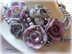 Handmade jewelry  Beaded necklace  Embroidery by PolinessJewelry.
