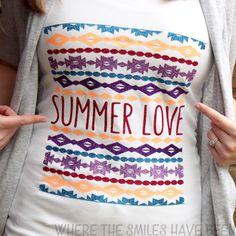 DIY Tribal Summer Love Shirt with Glitter HTV