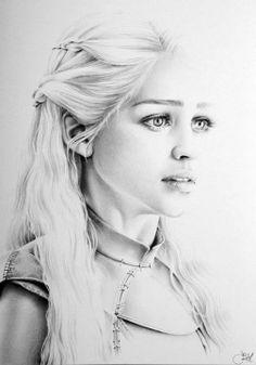 "Emilia Clarke as Daenerys in Game of Thrones, pencil on extra smooth Bristol board, 8 x 11"" IIeana Hunter"