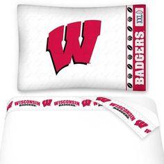 NCAA Wisconsin Badgers Sheets Set College Football Bedding: Twin