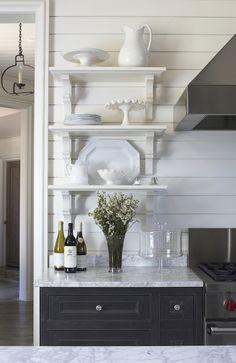 Tracery Interiors - kitchens - Benjamin Moore - China White - ebony stained walnut cabinets, ebony stained walnut cabinetry, ebony stained k...