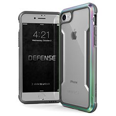 iPhone 8 & iPhone 7 Case, X-Doria Defense Shield Series - Military Grade Drop Tested, Anodized Aluminum, TPU, and Polycarbonate Protective Case for Apple iPhone 8 & 7, [Iridescent]