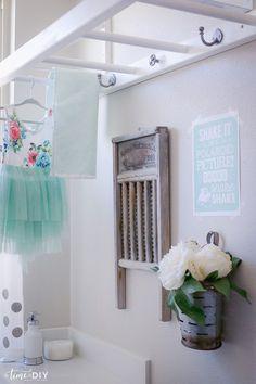 DIY Laundry Room Ladder as drying rack, BRILLIANT! via Time2DIY.com