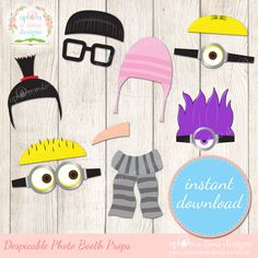 These PRINTABLE Photo booth props inspired by Despicable Me will have your guests looking and feeling the part as they enjoy your despicable photo booth. With all your favourite characters from the...