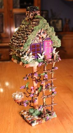 OOAK Miniature Fairy Treehouse Fairy Garden House Fairy #fairygardening #miniaturegardens