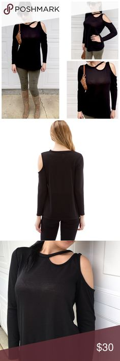 """💠Black Neck & Shoulder Cutout Top Unique Black Neck & Shoulder Cutout Top. 97% Cotton 3% Spandex.  Made in U.S.A. 26"""" Long. 1/2"""" inch difference between each size. Tops Tees - Long Sleeve"""