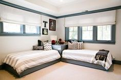 Pin for Later: 11 Pro Secrets to Designing a Beautiful Shared Kids' Room In a long, skinny room, put two twin beds head to head so they're sharing a headboard, thus saving valuable floor space. — Nest Design Co., Inc.