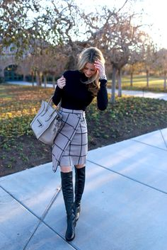 warm jumper plaid skirt boots