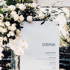 minimalist wedding bar menu
