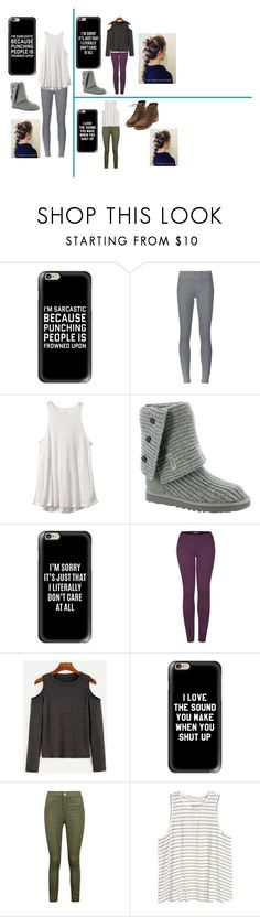 """""""I don't care"""" by bre-winter ❤ liked on Polyvore featuring Casetify, ATM by Anthony Thomas Melillo, RVCA, UGG Australia, 2LUV, Boohoo and H&M"""