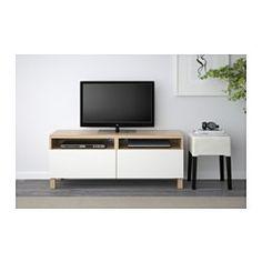 BESTÅ TV bench with drawers - white stained oak effect/Lappviken white, drawer runner, soft-closing - IKEA