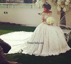 Elegant Off The Shoulder Ball Gown Chapel Train Lace Long Sleeves Wedding Dress - Wedding Dresses - Weddings