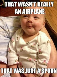 Funny Baby Spoon Airplane Picture Joke