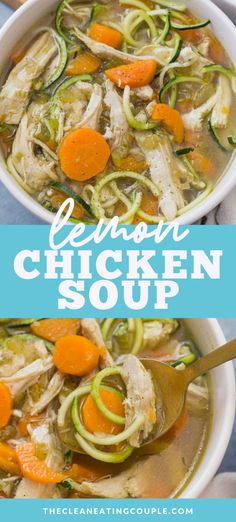 Healthy Lemon Chicken Soup is a delicious, simple dinner easily made in the instant pot, crockpot or stovetop. Packed with veggies and paleo/ whole 30 friendly. You can keep it keto / low carb with zucchini noodles, or add orzo/ rice! Either way it's healthy and yummy - a delicious twist on a greek classic! #instantpot #paleo #whole30 #crockpot Healthy Gluten Free Recipes, Healthy Chicken Recipes, Lunch Recipes, Healthy Dinner Recipes, Whole30 Recipes, Paleo Menu, Chili Recipes, Healthy Dinners, Crockpot Recipes