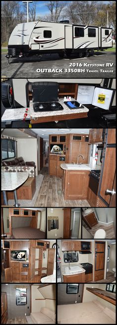 This 2016 PASSPORT 3350BH Grand Touring travel trailer by KEYSTONE RV features a rear bunkhouse for the kids, dual entry, a bath and a half, plus an outside kitchen.
