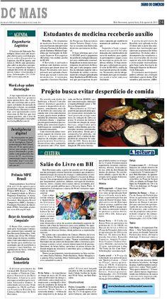 Título: Projeto busca evitar desperdício de comida; Veículo: Diário do Comércio;  Data: 08/08/2013;  Cliente: Sapore.