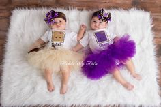Peanut Butter and Jelly Twin Girls Tutu Set with Names...Twin Girls Halloween Costume...www.ticklemytutu.com