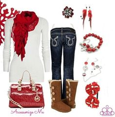 A POP of red makes this outfit come alive! $5 Jewelry and Accessories by #Paparazzi Check out Pink Carpet Sparkle on Facebook!