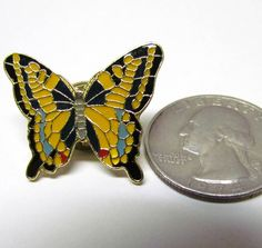 Vintage Butterfly Pin Gold Tone and Enamel / Lapel Pin / Scatter Pin / Hat Pin - Costume Jewelry - Women's Accessories - Collectible Pin by VINTAGEandMOREshop on Etsy https://www.etsy.com/listing/236210849/vintage-butterfly-pin-gold-tone-and