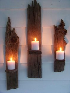 driftwood wall candle sconces. Wanting a couple of candle sconces for my family room. Liking this idea quite a bit! I have a pile of old barnwood out back.