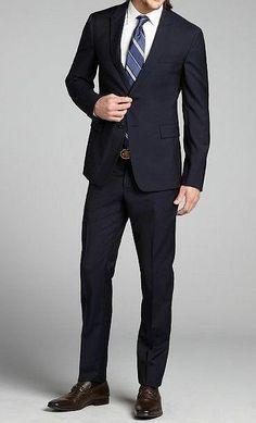 Prada Suit (Men's Pre-owned Wool Mohair 2 Button Midnight Blue Flat Front Pant Designer Suit)