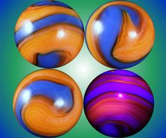 """Four views of a vintage Akro Agate """"Claudia"""" corkscrew marble, bright blue on an orange base which fluoresces under black light, as shown in the bottom right view."""